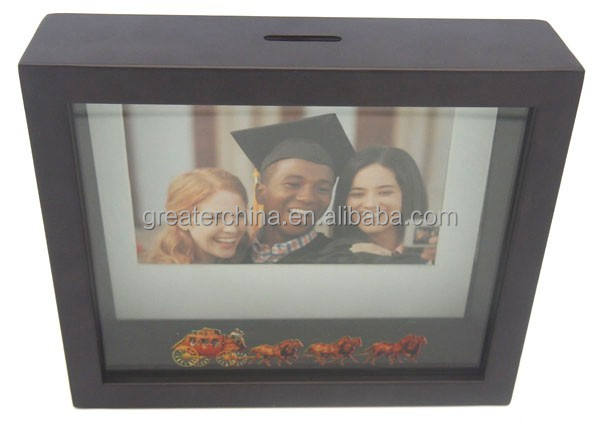 2 in 1 Framed Picture Box Bank/plastic photo frame piggy bank