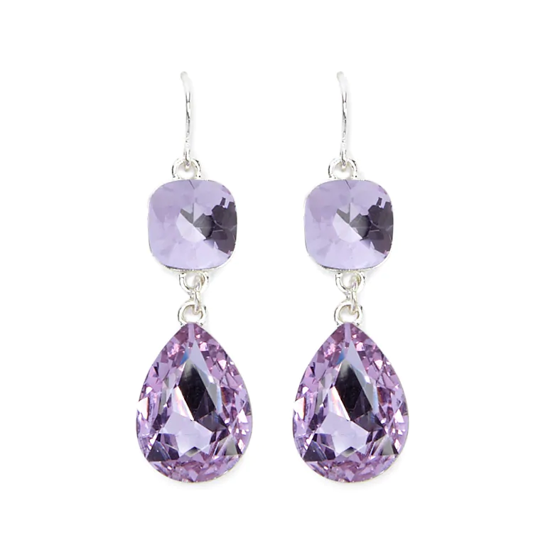 Purple 석 Drop Earrings
