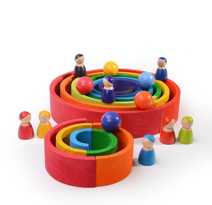 Wholesale Custom 12 Pcs Building Blocks Montessori Educational Large Stacker Wooden Rainbow Bridge Toys