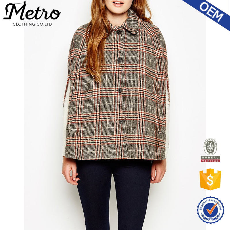 OEM Women Winter Apparel Classic Capes with Checked Pattern