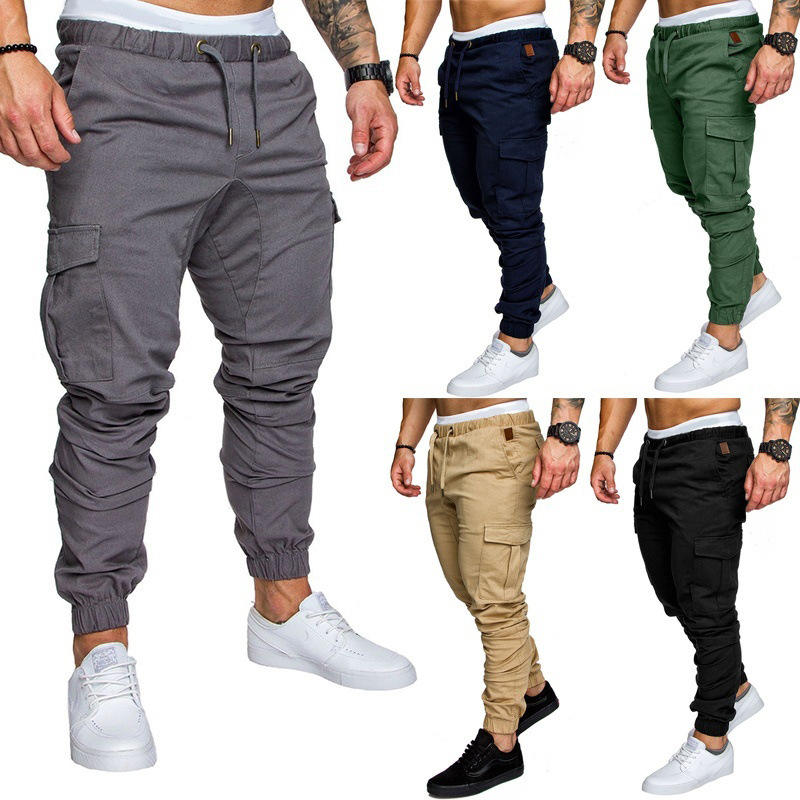 BU2H Men Casual Sport Print Harem Stripe Elastic Waist Pants Trousers