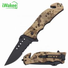 Stainless steel half saw blade Plastic Handle Folding Pocket Knife Utility Cutter Camping Survival Knife