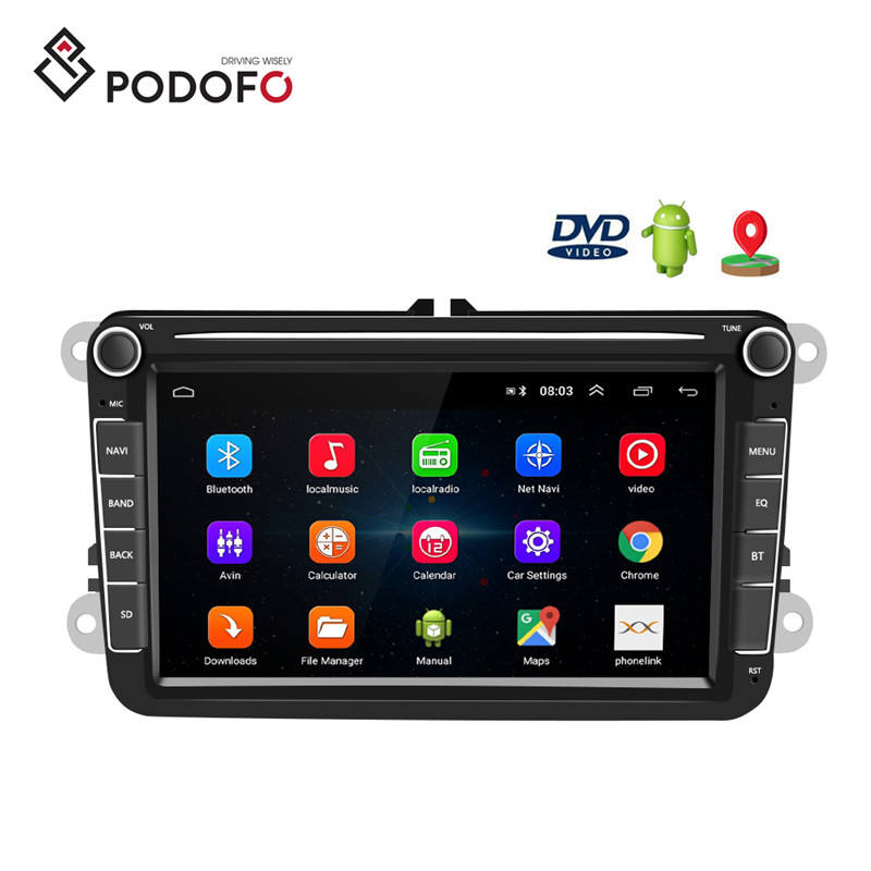 Podofo Android 8.1 8'' 2 Din Autoradio Car Radio Car DVD Player GPS Wifi Bluetooth Receiver For VW PASSAT POLO GOLF 5 6