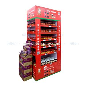 Supermarkt promotionele kartonnen vloer water fles display stands joyshaker energie drankjes display rack
