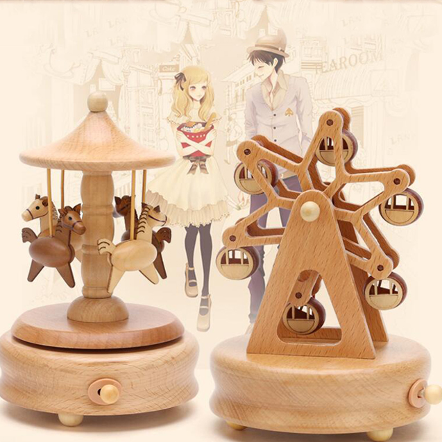 new arrival wood craft custom made hand crank music box