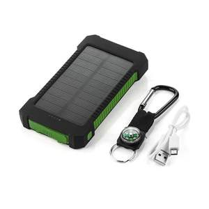 Solar Power Bank Waterproof 20000 mAh Solar Charger 2 USB Ports Powerbank With LED Light For Phones