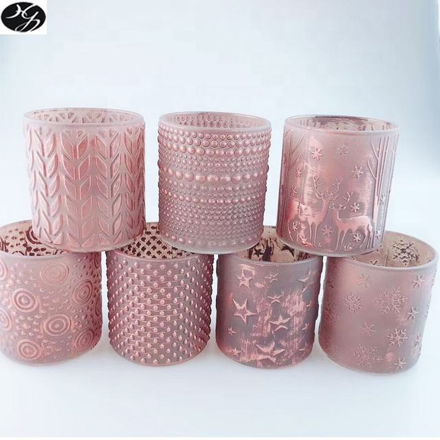 Unique hand painted decorative matte pink glass candle jars with embossed surface