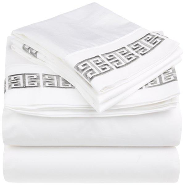 100% Cotton Greek Key Embroidery 4-Piece King Bed Sheet Set