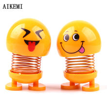 Car ornament decor smiling face spring bouncing doll   spring doll