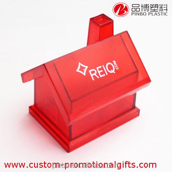 Gran alcancía de plástico para niños, rojo transparente casa de dinero de banco/alcancía