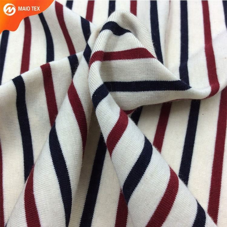 Classic Pattern Stripe Style 30s cotton Spandex Yarn Dyed Knit Jersey Fabric for T-shirt