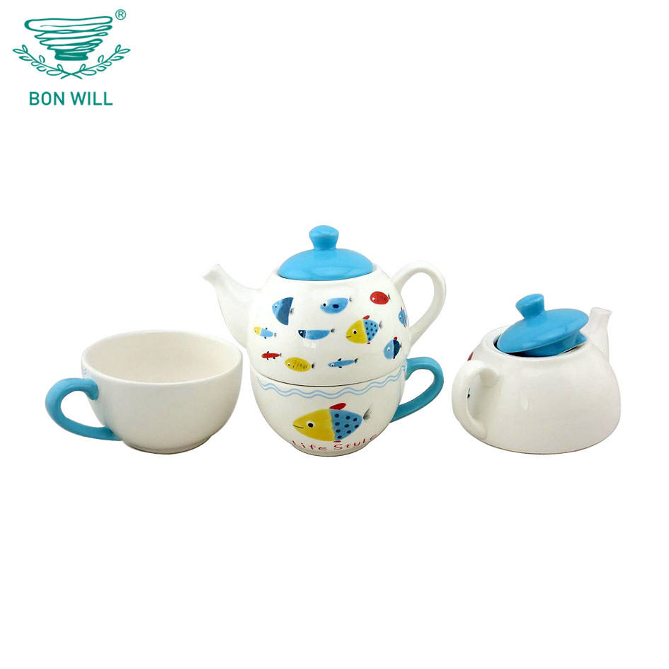 Cartoon fish design turco doppio in ceramica teiera set bollitore