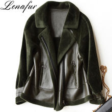 2018 Hot Fashion Autumn Winter Young Girl Street Casual Lamb Sheep Leather Shearling Bomber Jacket