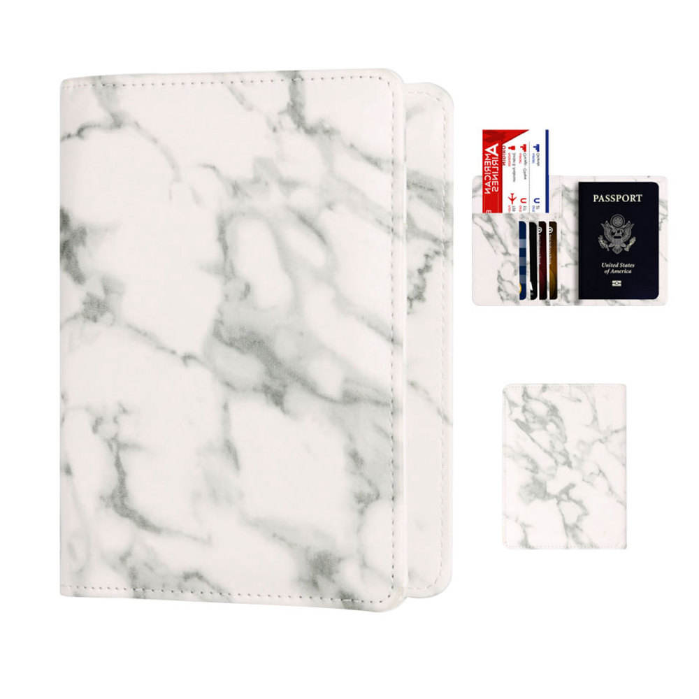 Wholesale Amazon Popular Marble Leather RFID Blocking Travel Passport Cover Case