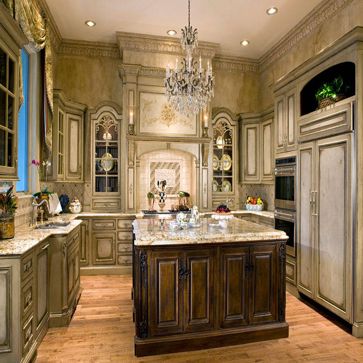 Luxury european villa style solid wood kitchen cabinet for sale