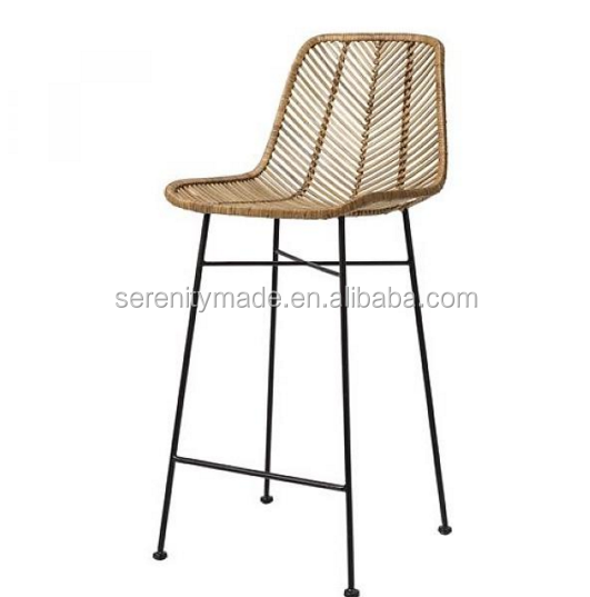 Modern plastic weaving rattan furniture stool chair with metal legs