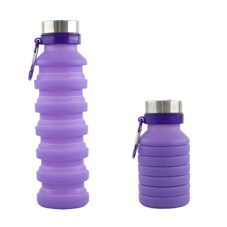 BPA free food grade collapsible silicone travel water bottle botellas plegables silicona kids