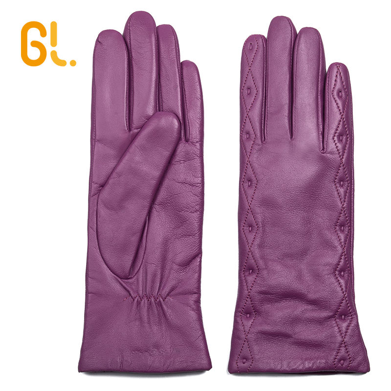 GL Sexy Winter Ladies Pink Dress Genuine Good Sheepskin Leather Gloves
