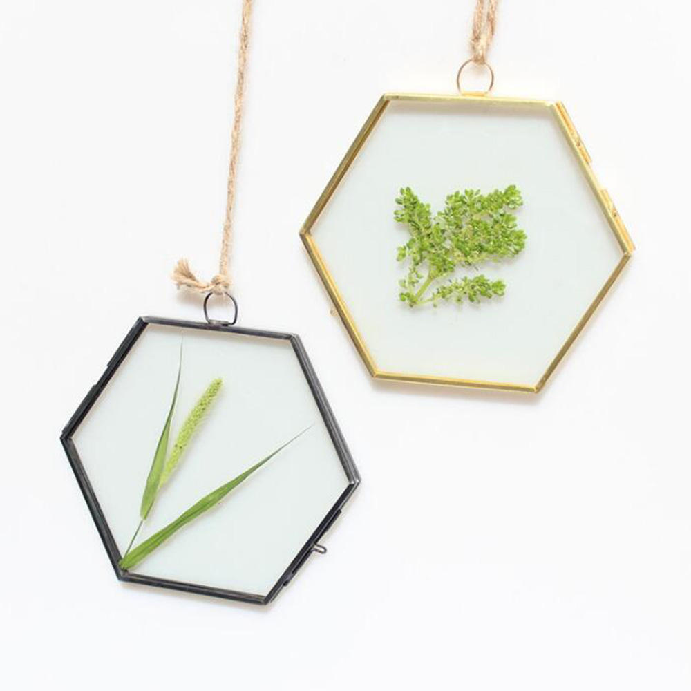 3.5 inch Modern Wall Hanging Brass Hexagon Glass Artwork Photo Picture Display Frame Metal Wedding Photo Frames
