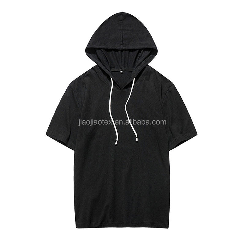 Oem custom made design short sleeves blank black hoodies with no labels