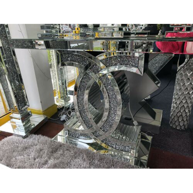Modern tall console table mirrored furniture Diamond crushed glass mirror tabletop mirrored console table
