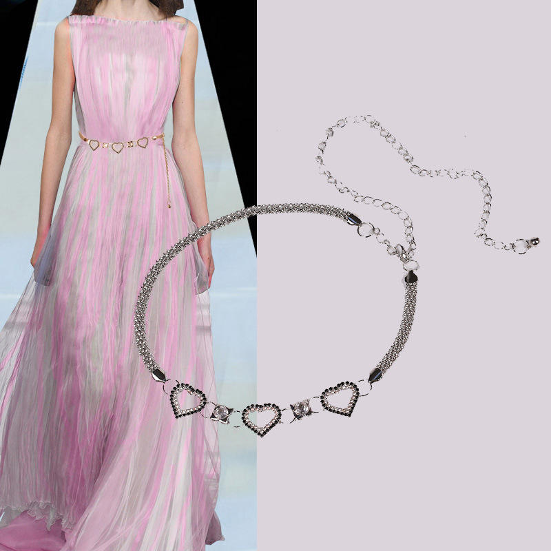 Hot Sale Full Metal Belt Diamond Heart Love Wild Chain Simple Dress Belt