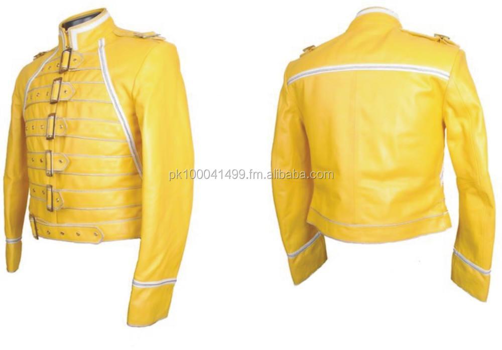 Men/'s Freddie Mercury Concert Queen Yellow Faux Leather Jacket