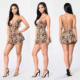 Ladies Romper Women 100% Rayon Animal Printed Spaghetti Straps Low Back Romper Evening Jumpsuits For Weddings