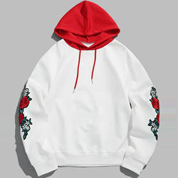 Off-white rose embroidery  hoodie sweaters men made by OEM China factory
