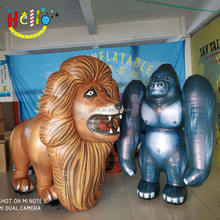 Full printing walking Inflatable Lion cartoon Character Costume mascot for Outdoor Event Decoration