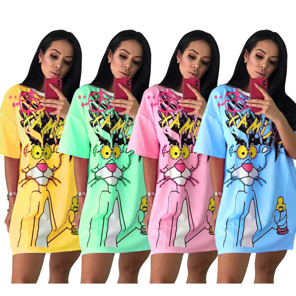 Ready to ship OEM ODM women fashion casual cartoon beading t shirt dress TC946