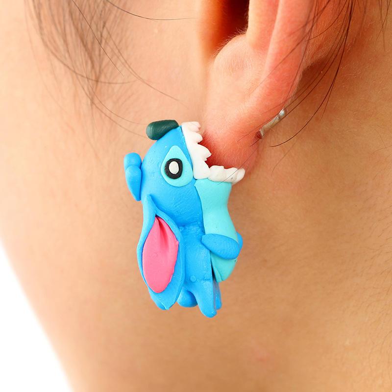Man-eater flower Fox 3D Cartoon Animal Fimo Polymer Clay Stud Earrings Jewelry