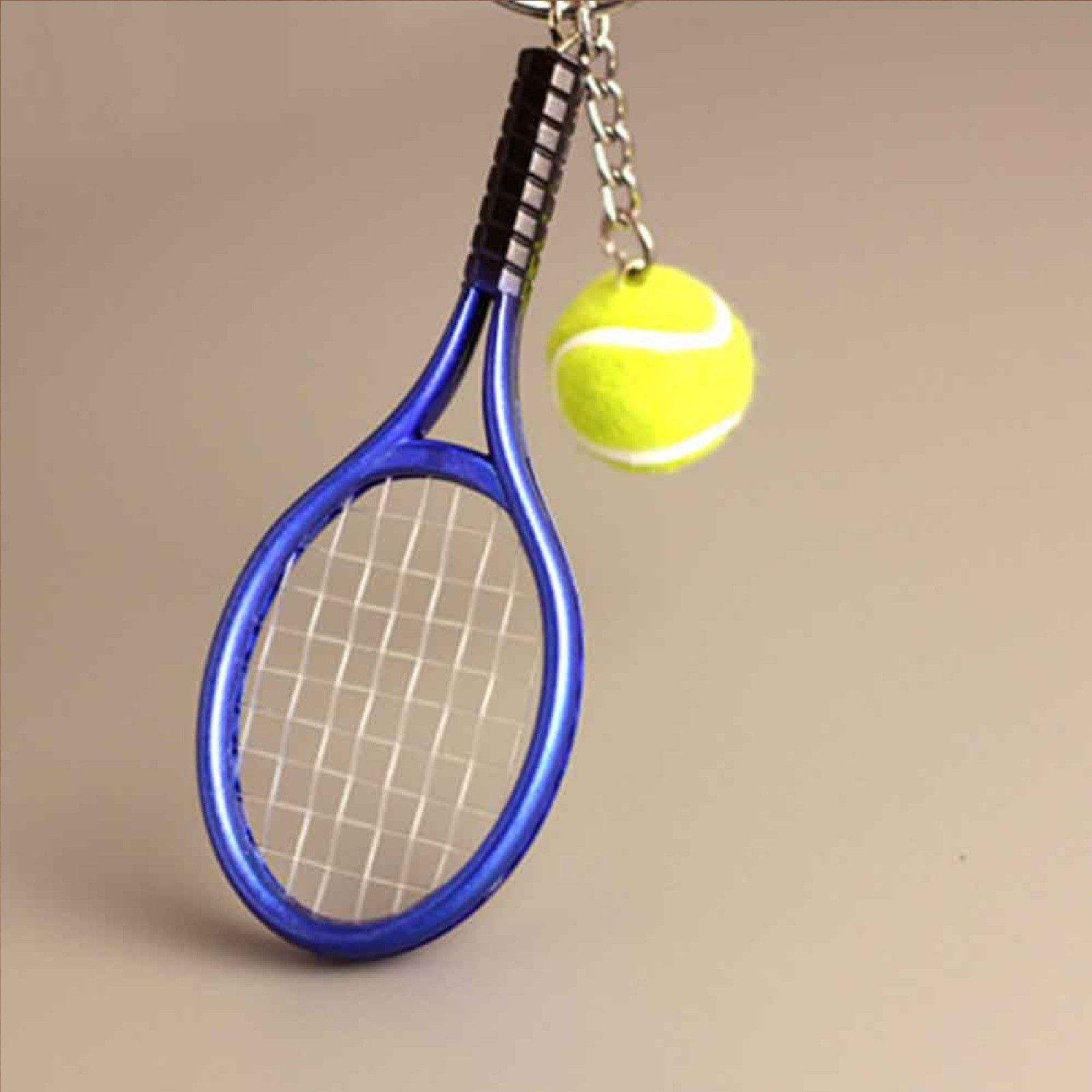 wholesale Fashion Tennis Keychain 3D Tennis Ball Racket Keychain Metal Keyring Sports Games Gift KR106