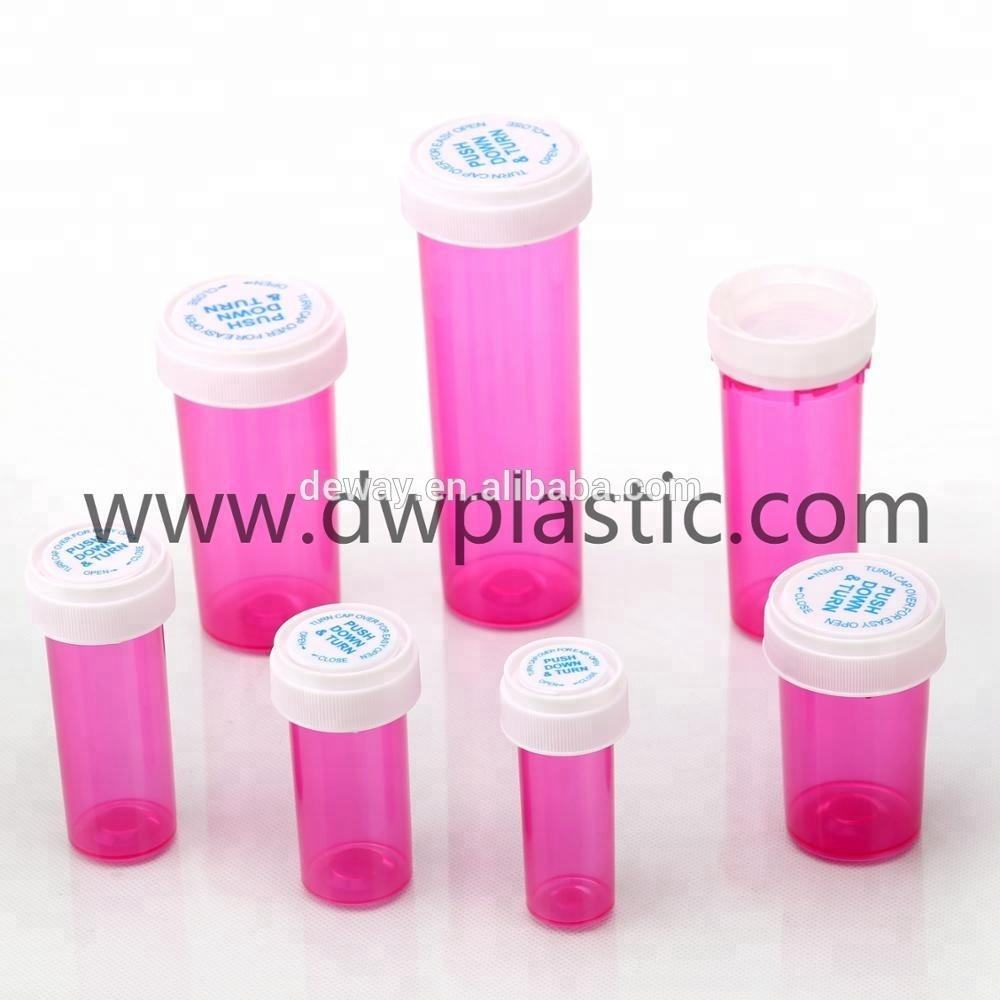 Plastic reversible vials or pill bottles or dram vials with a child resistant cap