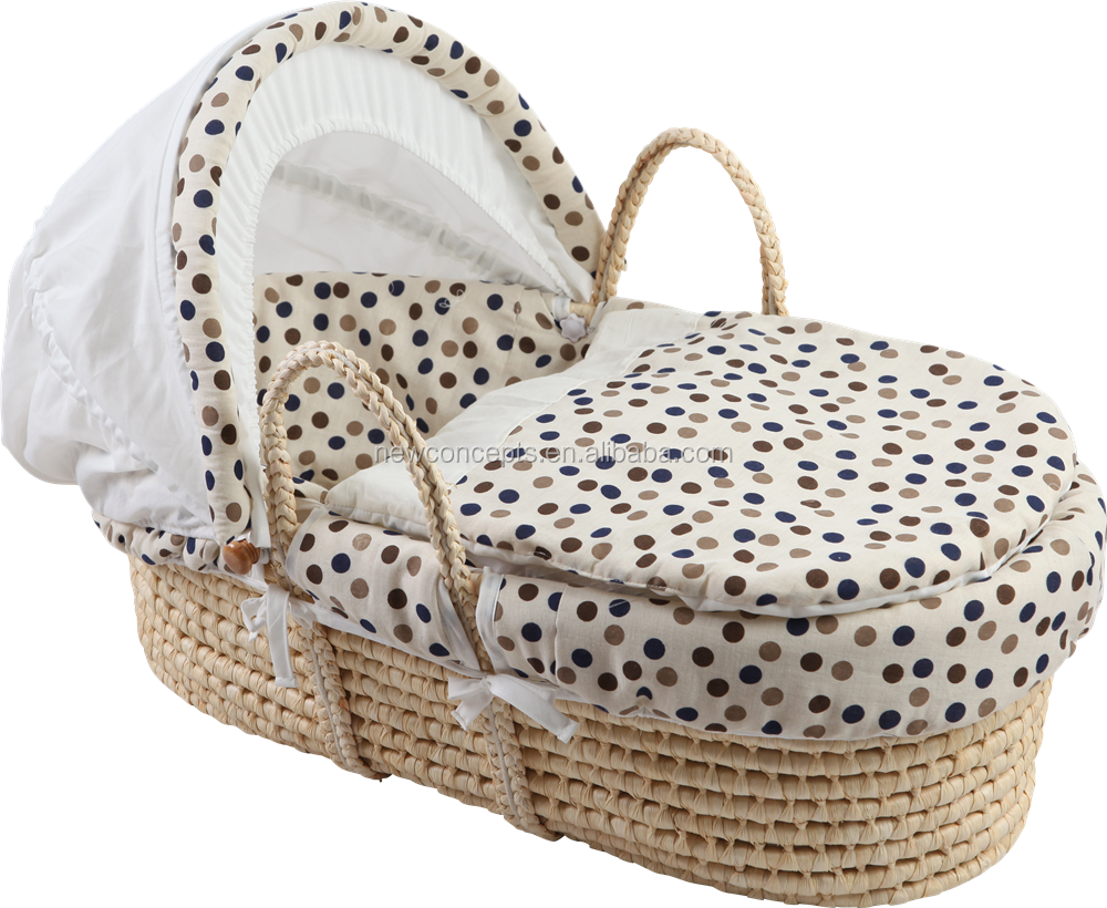 High quality handmade straw woven moses basket baby portable carriage basket
