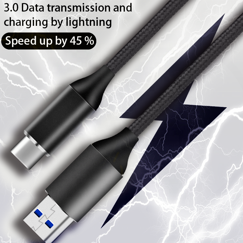 0.3M High Speed power cord Type C Cable USB 3.0 Charging Data Cable Nylon Braided Aluminum USB Cable for HDD and computer