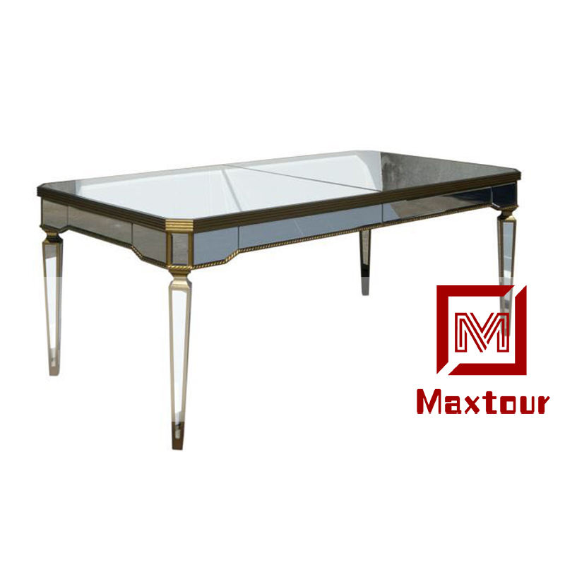 Romantic high quality Rectangle dining mirror table wedding