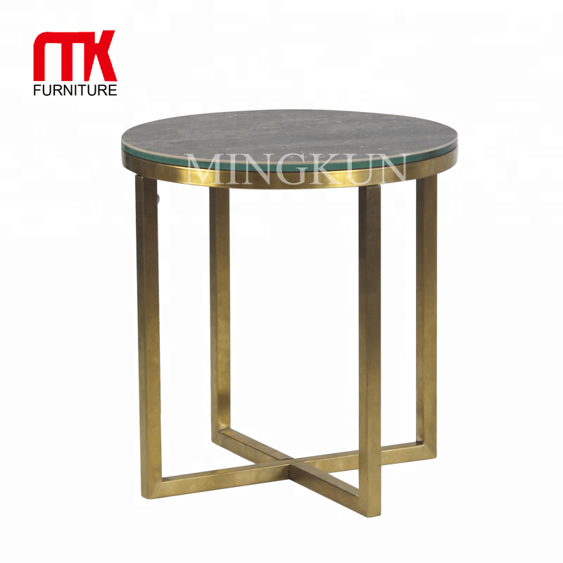 Emas stainless steel dasar keramik top end table