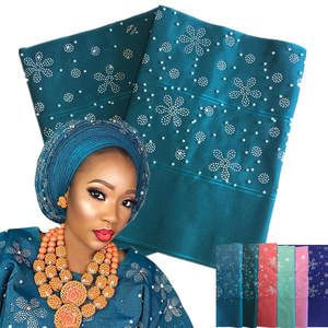 AH80508 New design High quality nigeria green african aso oke headtie for women aso oke gele with stones and beads
