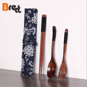 Bamboo utensils chopsticks fork spoon knife with matching black handle