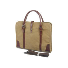 Real leather Canvas Messenger Bag School Shoulder Bag for 13.3-15inch Laptop Business Briefcase