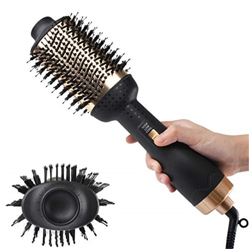 1200w Hot Air Blow Dryer Brush Professional 2 In 1 Straightener Comb Electric Blow Dryer Rotating Hair Brush Roller Styler