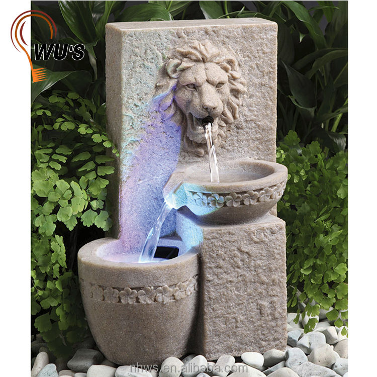 IP55 decoration outdoor garden sun controlled resin lion solar water fountain