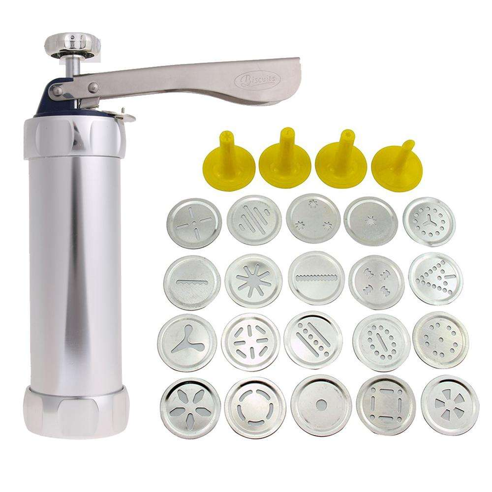 Baking Tools Manual Biscuit Cookie Press Stamps Set Cake Decorating Tools Maker with 4 Nozzles 20 Cookie Molds