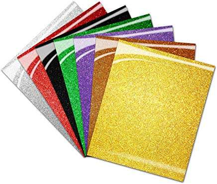 Glitter Heat Transfer Vinyl HTV for T Shirts, 12x10 inch
