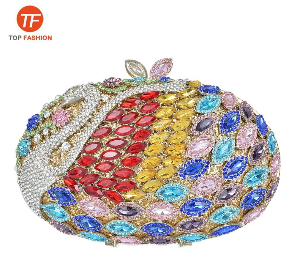 2019 Elegant Crystal Rhinestone Clutch Handmade Peacock Evening Bag for Wedding Party Wholesales from China Supplier