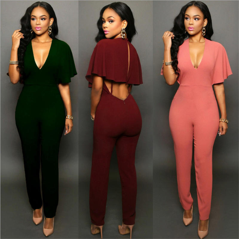 Fashion Rompers Women's Jumpsuit Summer Jumpsuits for Women 2018 Batwing Sleeve Jumpsuit Female Casual Overalls