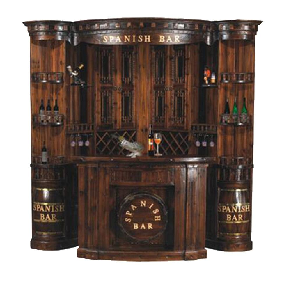 2019 Antique traditional residential bar counter is made of import solid Russian pinus sylvestris wood for home bar