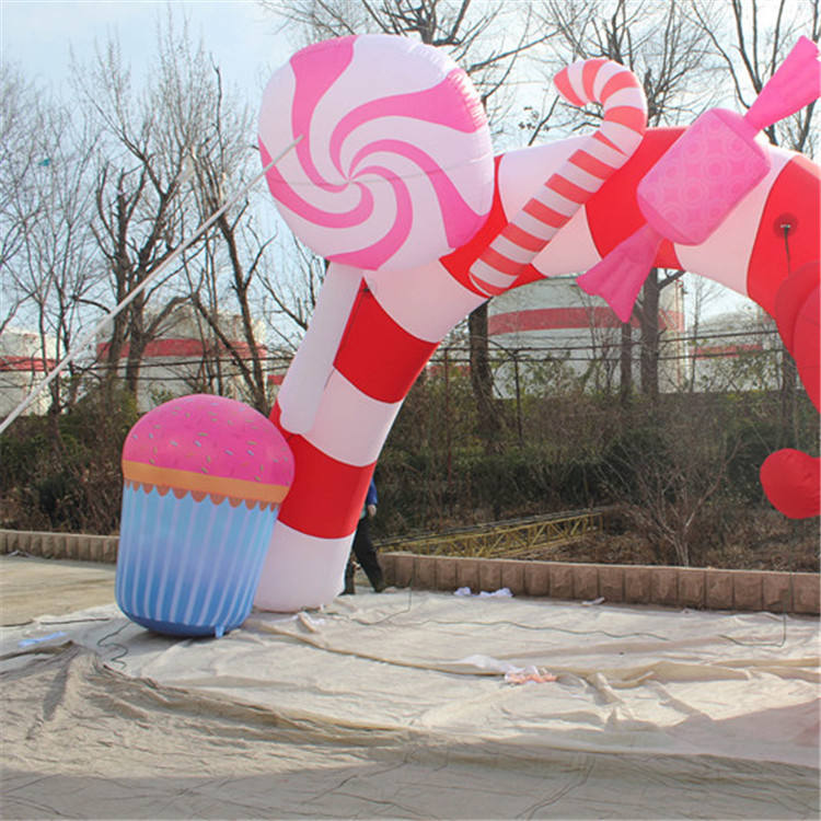Promotional Christmas sweet arch Inflatable Candy Cane Arch with Gift