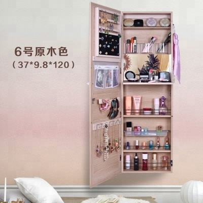 Chinese Factory Eco-friendly Lockable Standing MDF Rotating Mirror Living Room Wooden Furniture Floor Mirror Jewelry Cabinet